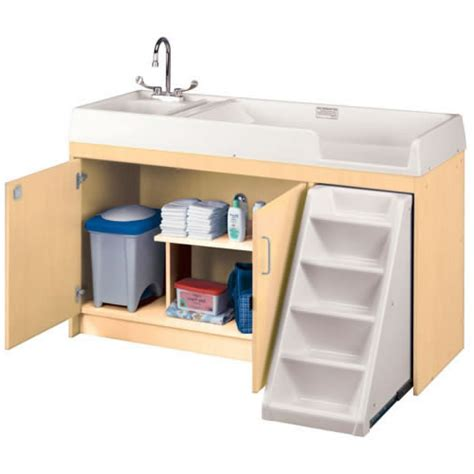 changing table with sink walk up changing table with left sink and right