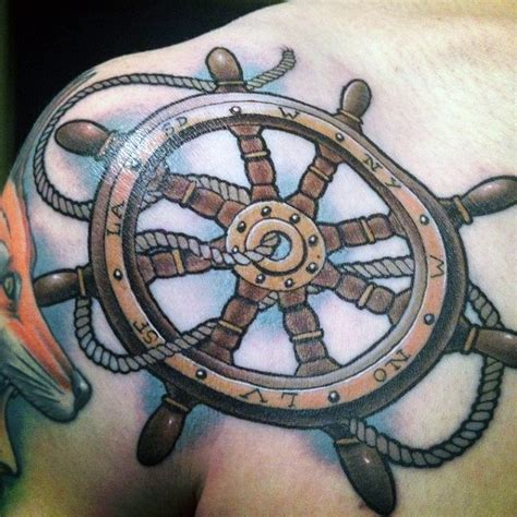 boat wheel tattoo 70 ship wheel designs for a meaningful voyage