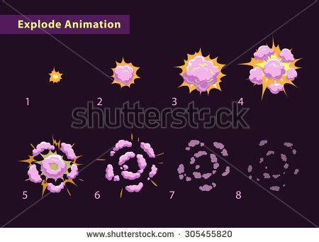 vector explosion tutorial explode effect animation with smoke cartoon explosion