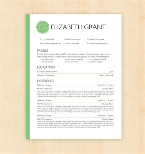 design cv template doc resume template cv template the elizabeth grant by phdpress