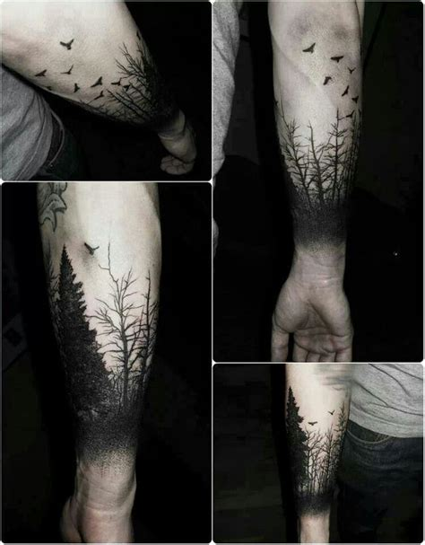 nature silhouette forest sky line tattoo tattoo pinterest