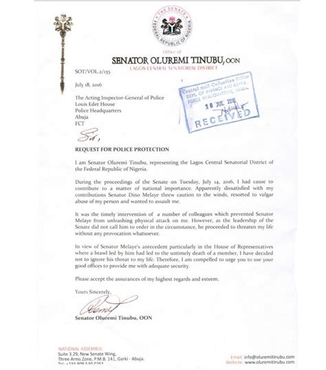 Petition Letter To Efcc My Life S Threat From Dino Melaye Oluremi Tinubu Petitions Igp Information Nigeria