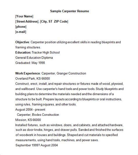 carpenter resume template 9 free sles exles