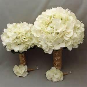 hydrangea bouquet white hydrangea wrapped with burlap and rafia bridal bouquets white hydrangea