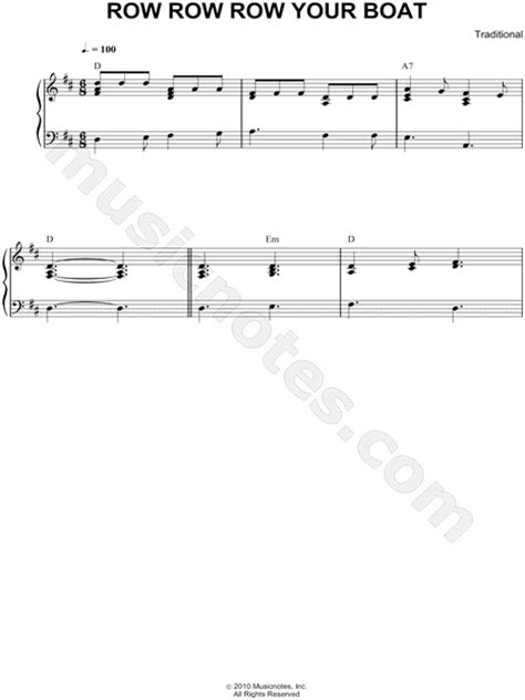 row row row your boat instrumental traditional quot row row row your boat quot sheet music piano