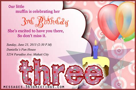 invitation wording for 3rd birthday 3rd birthday invitations 365greetings