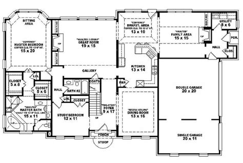 6 bedroom one story house plans 6 bedroom single family house plans house plan details