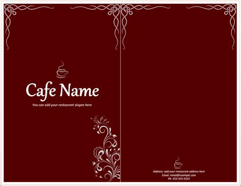 cafe menu template word 6 menu template word bookletemplate org