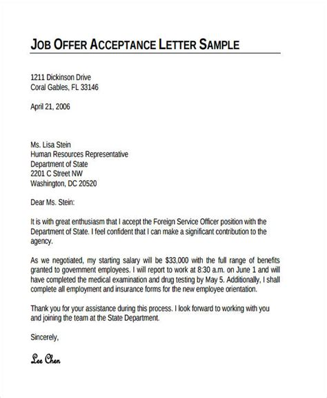 Employment Acceptance Thank You Letter 69 thank you letter exles