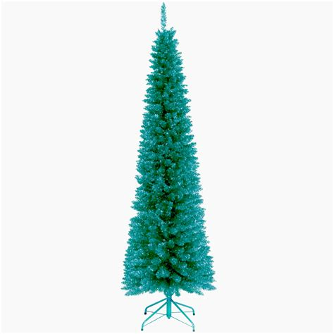 6 12 x 34 tinsel slim christmas tree with 400 clear lights national tree company 6ft unlit turquoise tinsel tree