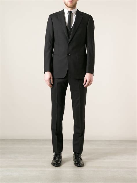 armani classic three suit in black for lyst