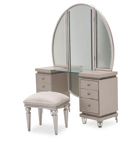 vanity with bench 3 piece aico glimmering heights vanity with bench