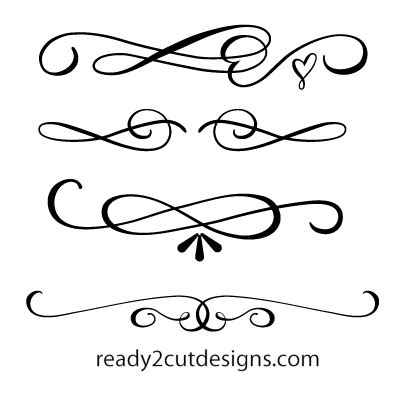 Word Blocks Home Decor by Scrolls Calligraphic 2 Ready 2 Cut Designs