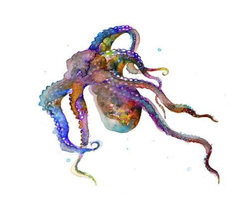 Watercolor  Ee  Tattoo Ee   Art Print Octopus Watercolor Painting