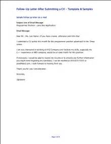 sle follow up letter after submitting a resume cover letter exles images cover letter sles