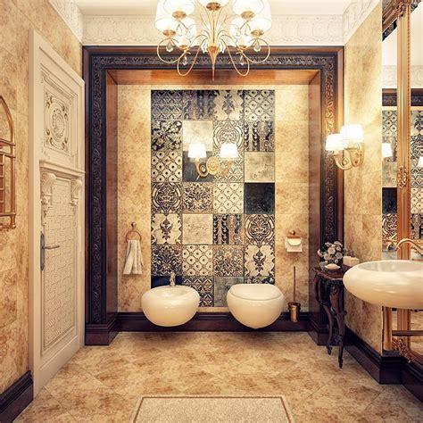 vintage modern bathroom design luxurious feature wall chandelier bathroom design modern