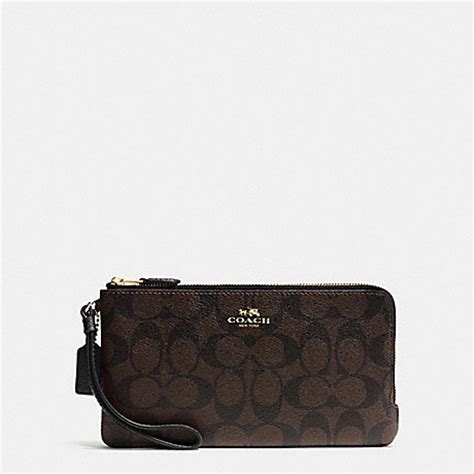 Coach F54057 Brown Black Wrislet coach f54057 zip wallet in signature imitation gold brown black coach wallets wristlets