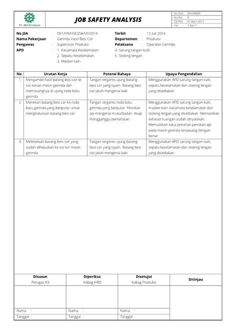 Job Safety Analysis Worksheet 50 Best Templates