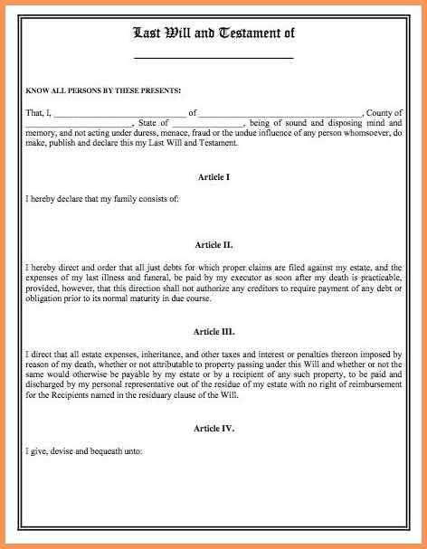 blank last will and testament template last will and testament blank forms emailformatsle