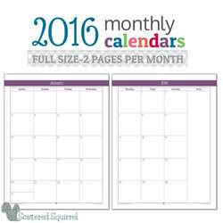 2 Page Monthly Calendar Template by 2016 Monthly Calendar Printables Size Edition