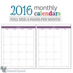 2016 monthly calendar printables full size edition