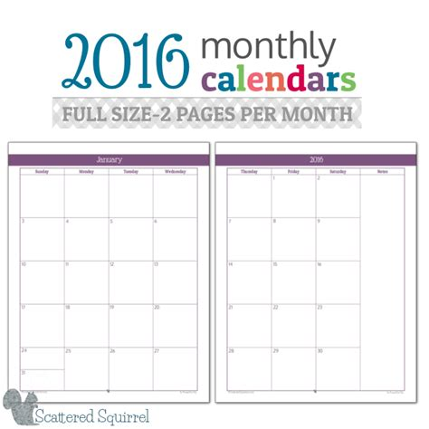 printable calendar 2016 to write on 2016 monthly calendar printables full size edition