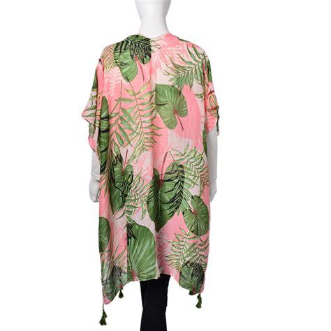 kimono leaf pattern pink and green palm leaf pattern 100 polyester kimono 35