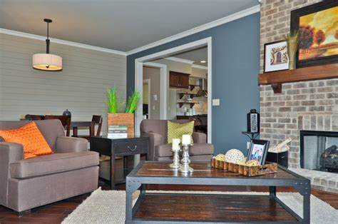 blue accent wall living room birmingham by signature homes