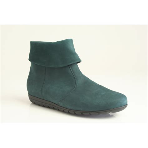 waldlaufer petrol green nubuck leather ankle boot with