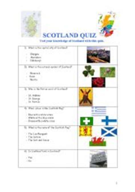printable quiz about scotland esl worksheets for adults scotland quiz