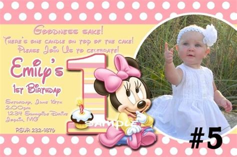 minnie mouse 1st birthday invitations templates 20 printed baby minnie mouse birthday invitations