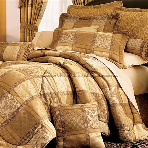 7pc gold patchwork bedding comforter set cal king ebay
