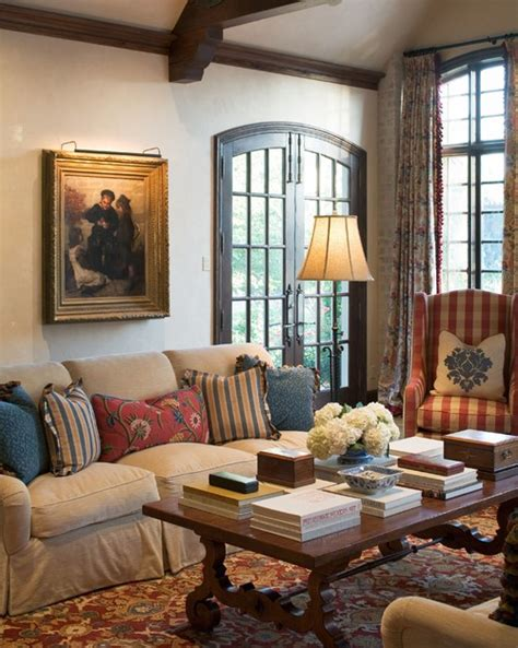 mediterranean style living room traditional european decor rattlebridge farm decorating with tartan and plaid
