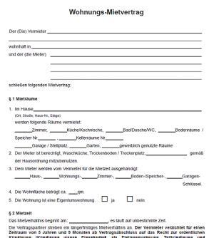 mietvertrag wohnung herunterladen