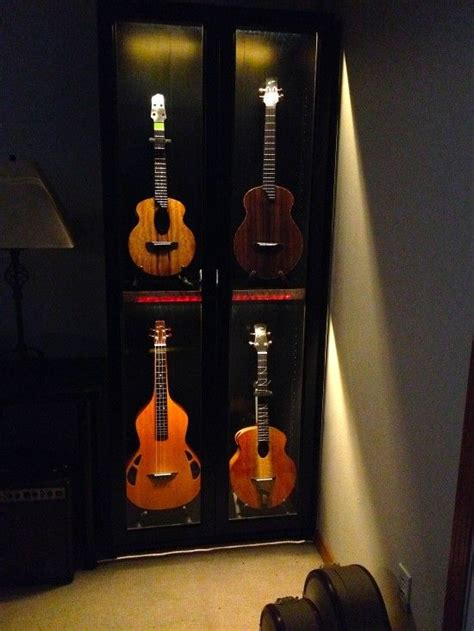 build  guitar display cabinet woodworking