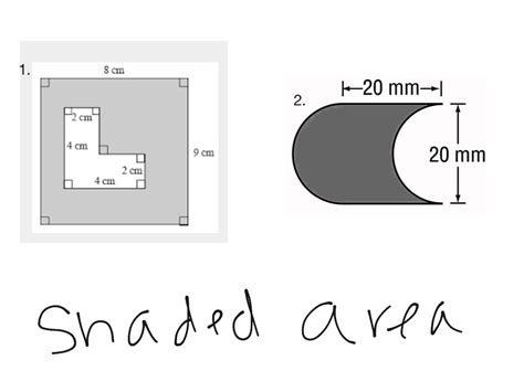 Finding Area Of Shaded Region Worksheet