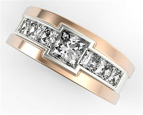 Wedding Bands With Princess Cut Diamonds by Two Tone Gold Mens Wedding Band With 1 40 Ct Princess Cut
