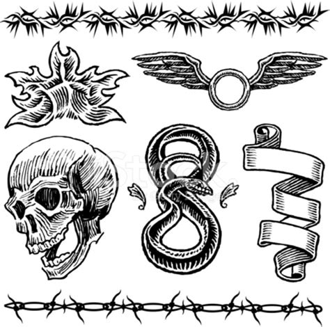 skull flame snake wings barbed wire ribbon tattoo
