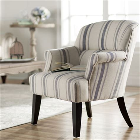blue white striped armchair get this look fixer