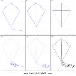 How To Make Paper Kites Step By Step - how to draw kite for printable step by step drawing