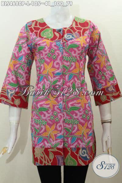 Jual Baju Buat jual baju batik blus kombinasi dua warna busana batik modern warna cerah buat cewek terlihat