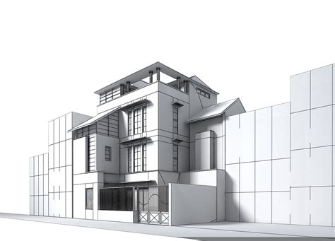 3d house building contemporary multi story house 3d model max obj 3ds
