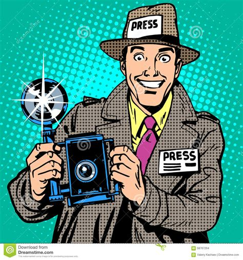 Press And Media Photographer On Photographer Paparazzi At Work Press Media Stock Vector Image 58767294