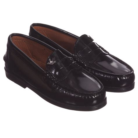 boys loafers armani junior boys black shiny leather loafers