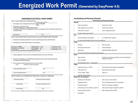 energized electrical work permit template applying the 2012 nfpa 70e arc flash standard ppt