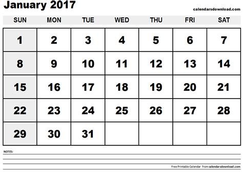 printable calendar jan 2017 january 2017 calendar