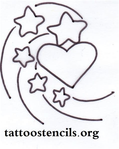 stars and heart tattoos designs free printable small stencils shooting