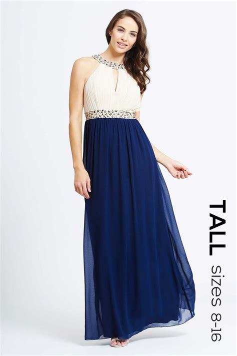 maxi in and navy embellished chiffon maxi dress