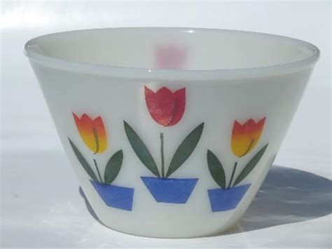 Blue Crystal Chandeliers Vintage Tulip Fire King Ivory Glass Mixing Bowl Small