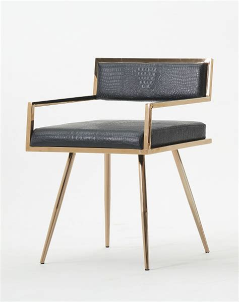 Contemporary Black Dining Chairs Modrest Rosario Modern Black Rosegold Dining Chair